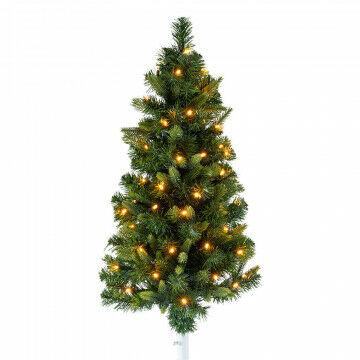 kerstboom voor in een vlaggenstokhouder om je gevel mee te decoreren, 60 warm witte led's, groen kunststof, 80 cm