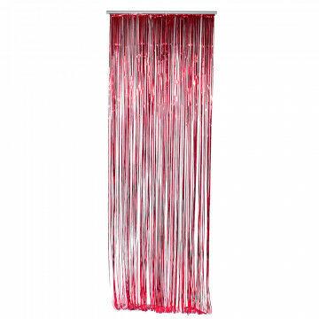 feestgordijn gemaakt van strookjes folie van 5 mm, rood kunststof, 90 x 300 cm