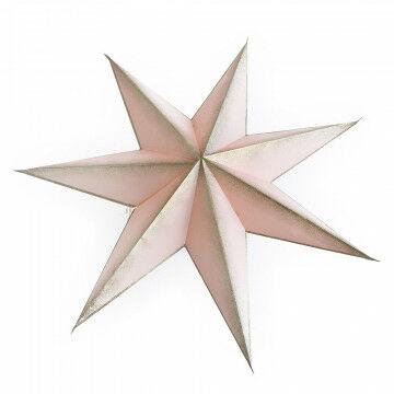 vouwster collar, 7 punten ster en champagne kleurige glitter randen, roze papier, 90 cm