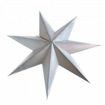 vouwster collar, 7 punten ster met zilver kleurige glitter randen, zilver papier, 90 cm