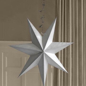 Ster met zilverkleurige glitterranden en mooie ophangbevestiging