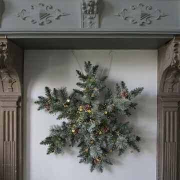 Kerstgroen in sneeuwvlokvorm met twinkelende pailletten