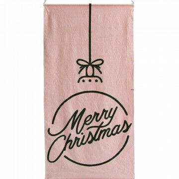banier merry christmas, met buisje en doorgevoerd koord, roze textiel, 200 x 100 cm
