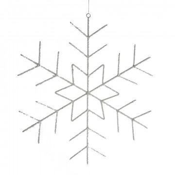 ornament sneeuwkristal bietz, large, glazen kralen, 400 gram, wit glas, 60.5 x 60.5 cm