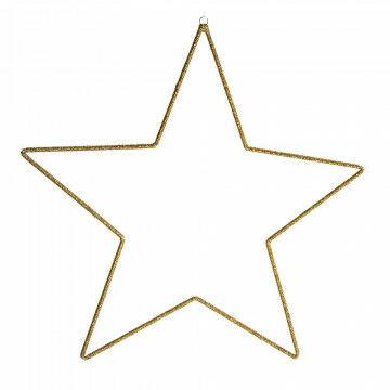 ornament ster bietz, glazen kralen op een metalen frame, 525 gram, goud glas, 69 x 69 cm