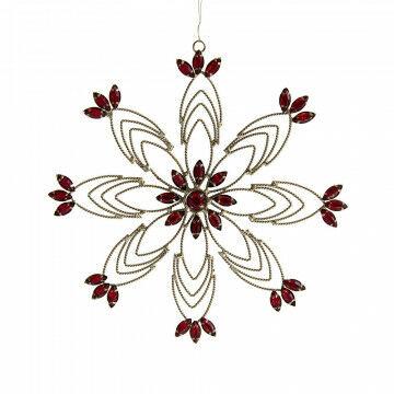 ornament sneeuwkristal classic, met dieprode kralen, goud metaal, 19 x 19 cm