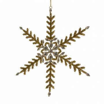 ornament sneeuwkristal bietz, medium, langdurig te gebruiken, goud glas, 27.5 cm