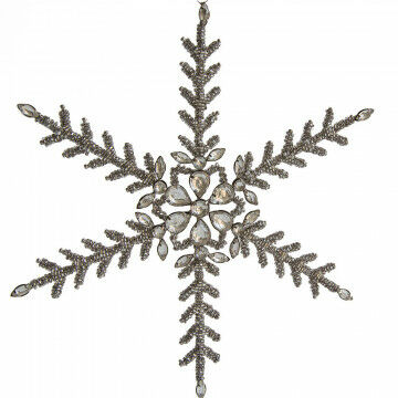 ornament sneeuwkristal bietz, medium, gemaakt om lang te kunnen gebruiken, zilver glas, 27.5 cm