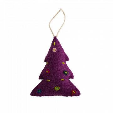 ornament kerst kerstboom, met ophanglus en handgemaakt, paars vilt, 12 x 10 cm