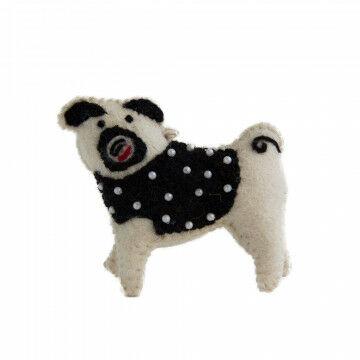 ornament kerst hond, hangemaakt, met ophangkoord, wit vilt, 10 x 9 cm
