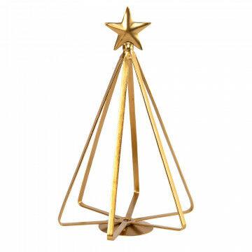 boom 3d strak tijdloos design met ster, goud metaal, 16.5 x 16.5 x 25.5 cm