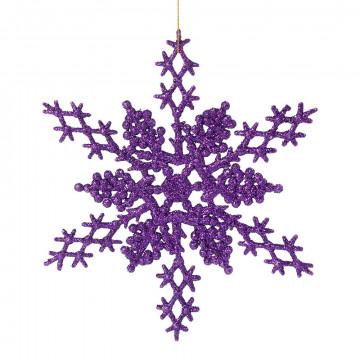 sneeuwkristal set van 4 stuks, paarse glitter, paars kunststof, 21 cm