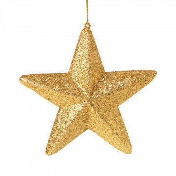 ster set van 4 stuks, in goud glitter, goud kunststof, 15 cm