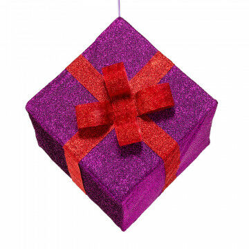 vouwbaar pakje van glitterstof paars pakje met roodkleurig lint, paars textiel, 50 x 50 x 45 cm