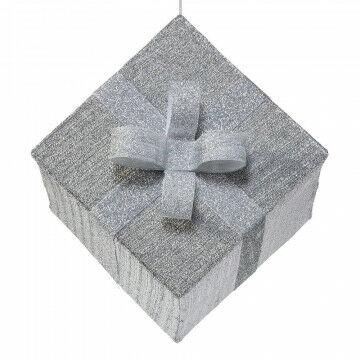 vouwbaar pakje van glitterstof met zilver lint, zilver textiel, 50 x 50 x 45 cm