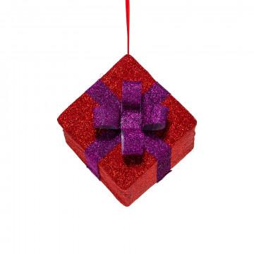vouwbaar pakje van glitterstof rood pakje met paars lint, rood textiel, 30 x 30 x 25 cm