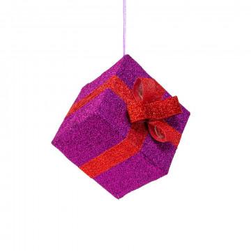 vouwbaar pakje van glitterstof paars pakje met rood lint, paars textiel, 30 x 30 x 25 cm