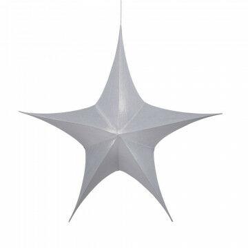 vouwster glansstof uitvouwbaar met blinde rits, zilver textiel, 95 cm