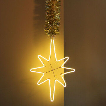 Lichtster  van 78 cm aan gouden luvi boa