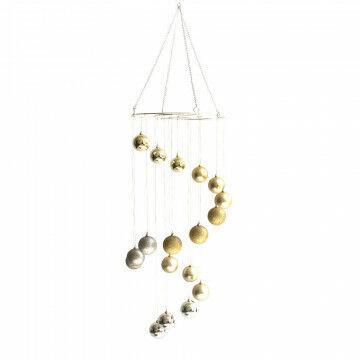 kerstbal chandelier, kant en klaar artikel met kerstballen, champagne kunststof, 150 x 40 cm