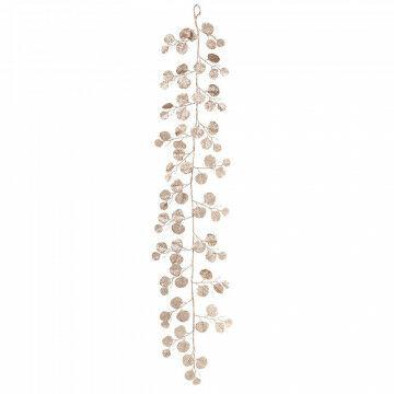 rank ronde bladeren in champagne glitter, champagne kunststof, 150 cm