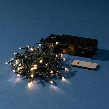 lichtset op batterijen met 50 witte lampjes en is handig koppelbaar, groen kunststof, 500 cm