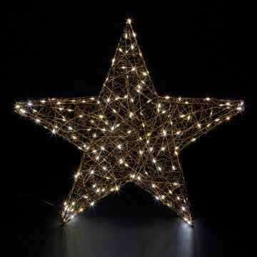 super 3d ster omwikkeld met led draad met 120 warm witte lichtjes en 40 flash lichtjes, zwart metaal, 58 cm