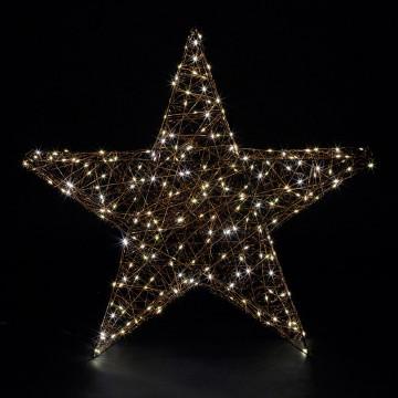 super 3d ster omwikkeld met led draad met 180 warm witte lichtjes en flash, zwart metaal, 78 cm