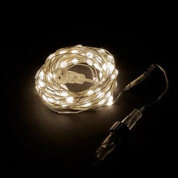 led lichtdraad van 10 meter met handige koppel functie, zilver metaal