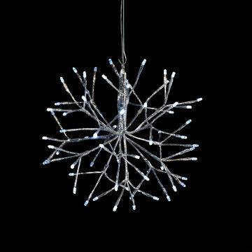 lichtbal met verlichte takjes hangend licht aan je plafond, zilver kunststof, 30 cm