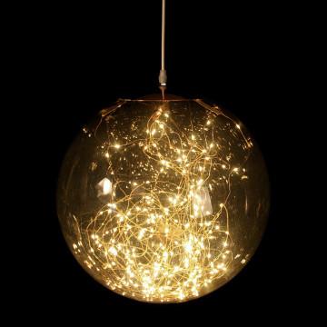 lichtbol smokey l, warm zonnig led licht op koperdraad, zwart kunststof, 40 cm