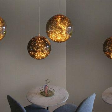 Lichtbollenset Smokey, warm led licht op koperdraad in transparante kunststof bol, 30 en 40 cm