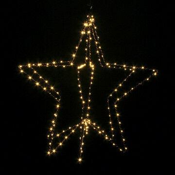 verlichte ster lino 3d small, zonnig warm wit 180 led licht op koperdraad, zwart metaal, 58 cm