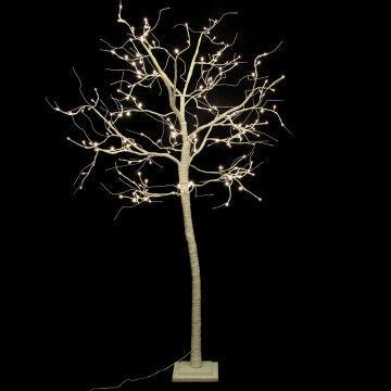 boom ashen met led verlichting, op vaste voet, mat witte wrap finish, 180 leds, wit kunststof, 180 cm