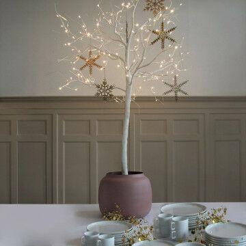 Boom, 80 cm compleet met lampjes, glazen ornamenten en metalen pot.