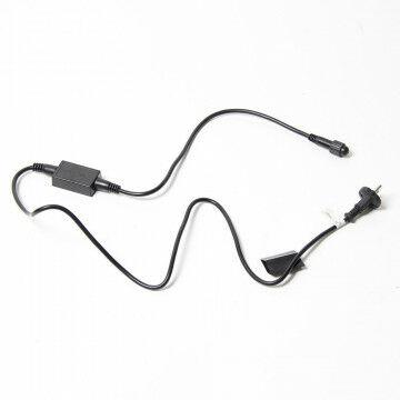 aansluitsnoer voor binnenverlichting inclusief stekker en zwart snoer, zwart kunststof, 150 cm