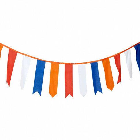 wimpellijn holland, lengte 10 meter vlaggenlijn 36 wimpels in oranje, rood, wit, blauw, multicolor textiel