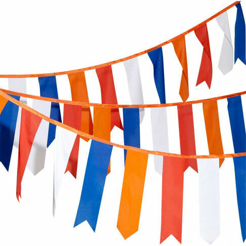 wimpellijn holland, lengte 10 meter, vlaggenlijn 36 wimpels in oranje, rood, wit, blauw, multicolor textiel, 15 x 60 cm