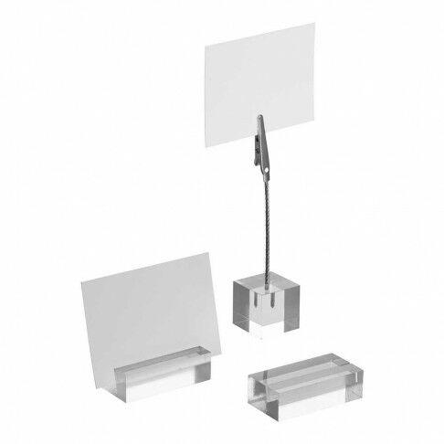 kaartstandaard blokje voor kaart tot 1mm dik, transparant acrylaat, 5 x 2.5 x 1.5 cm