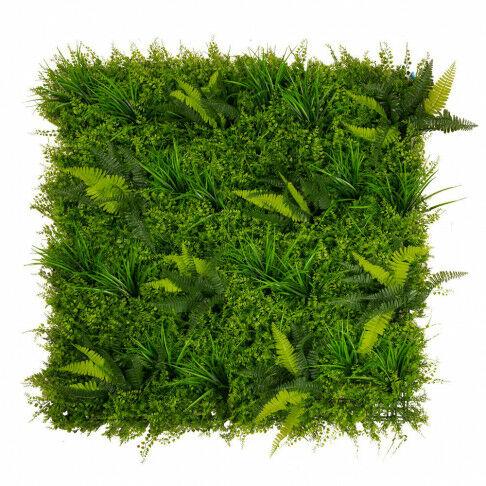 wand bladerpaneel met varens, van kunststof, koppelbaar en 1m² per stuk, groen kunststof, 100 x 100 cm