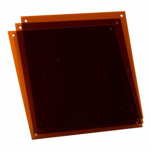 paneel vierkant, transparant acrylaat met 4 ophang- en/of koppelgaatjes, bruin, 30 x 30 cm