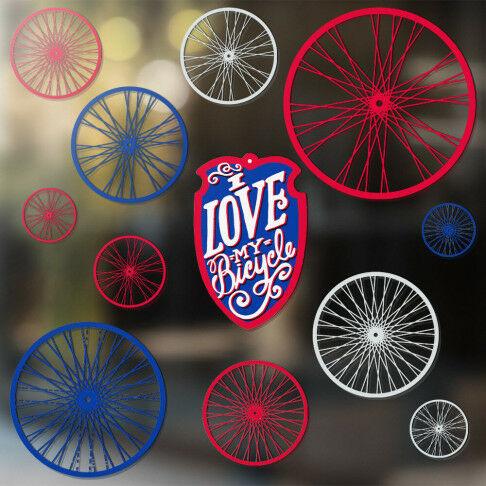 Raamstickers 'Bicycle' 12-delig, Ø11 t/m 38cm, multi kunststof