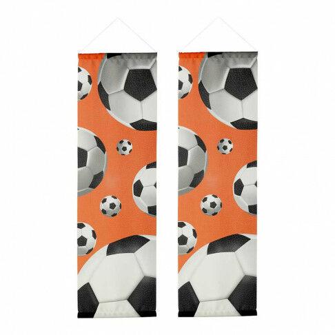 banierenset voetbal 3d smal inclusief stokken en koord, oranje textiel, 30 x 100 cm