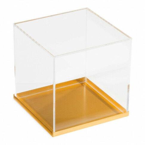 basisplateau geschikt als bodemplaat of deksel, goud metaal, 15 x 15 cm