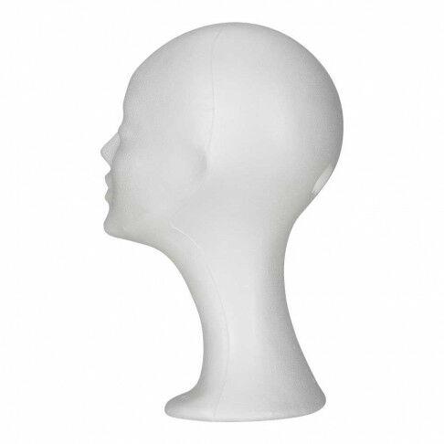 tempex hoofd dame, wit styropor, 33 cm