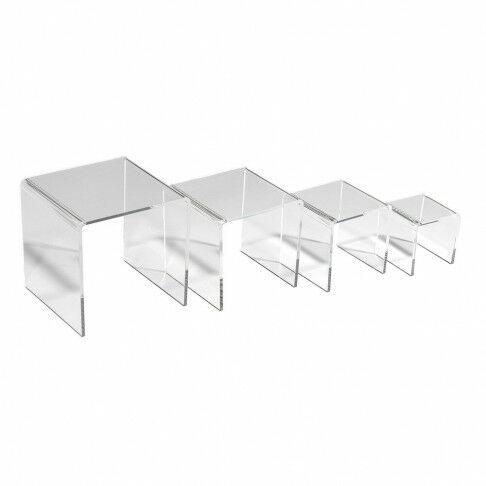 bankjes 4-delig 6+8+10+12cm, transparant acrylaat