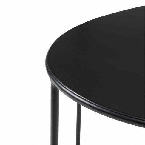 tafel ovaal large, met poedercoating, strakke afwerking, als bijzettafel of displaytafel, zwart metaal, 100 x 48 x 65 cm