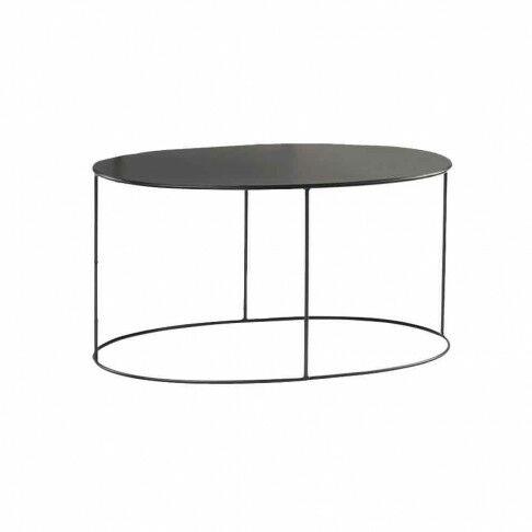 ovalen display tafel gepoedercoat en mooi strak afgewerkt, zwart metaal, 85 x 41 x 45 cm