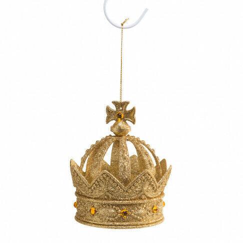 Kroontjes 10cm, goud, geglitterd, kunststof, goud kunststof, 10 cm