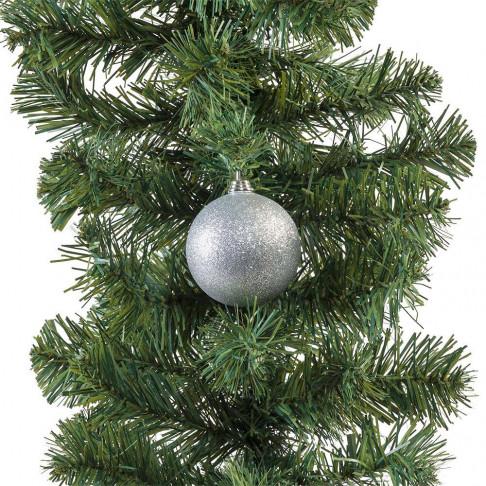 kerstbal in glitter finish en onbreekbaar, zilver kunststof, 7 cm